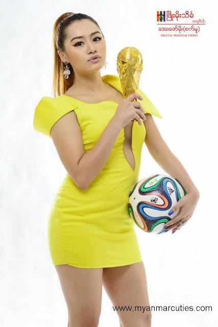Thiri Shinn Thant with ball and world cup