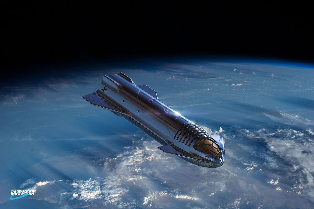 SpaceX Starship orbiting Earth by Gravitation Innovation