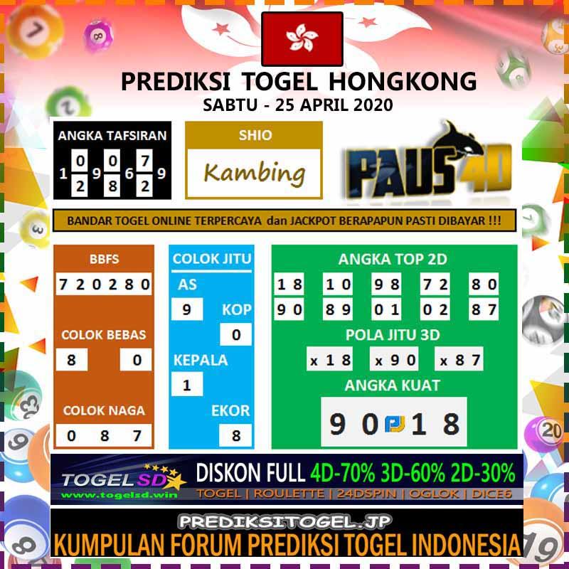 Prediksi HK Malam Ini 25 April 2020 - Prediksi Paus4D