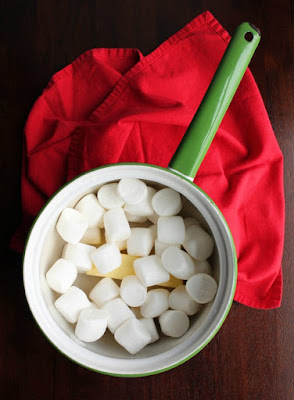 vintage saucepan filled with marshmallows and butter