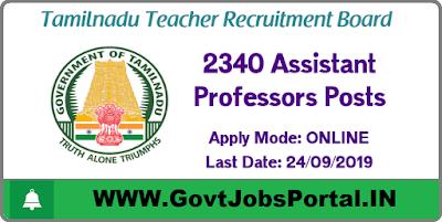 Teacher Recruitment Board Vacancy - Govt Jobs in Tamil Nadu for 2340 Assistant Professor Posts
