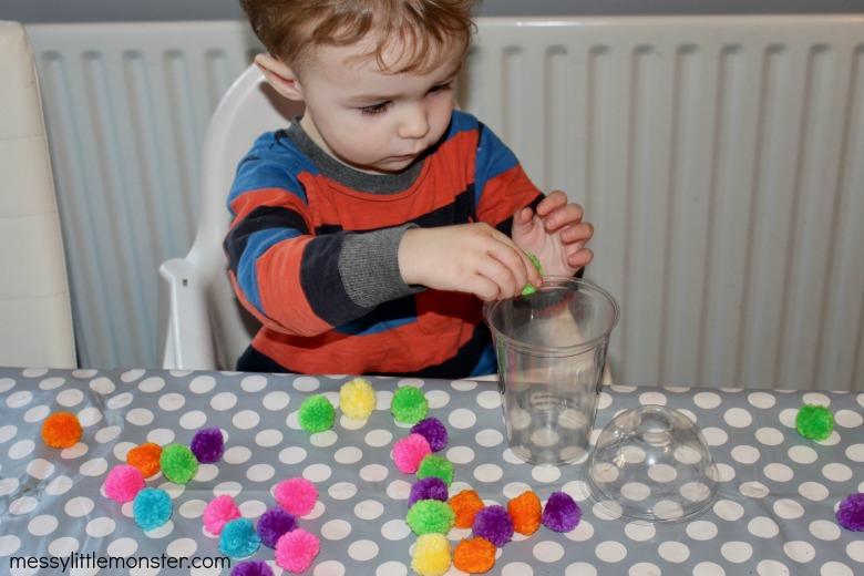 pom pom fine motor skills activity for toddlers
