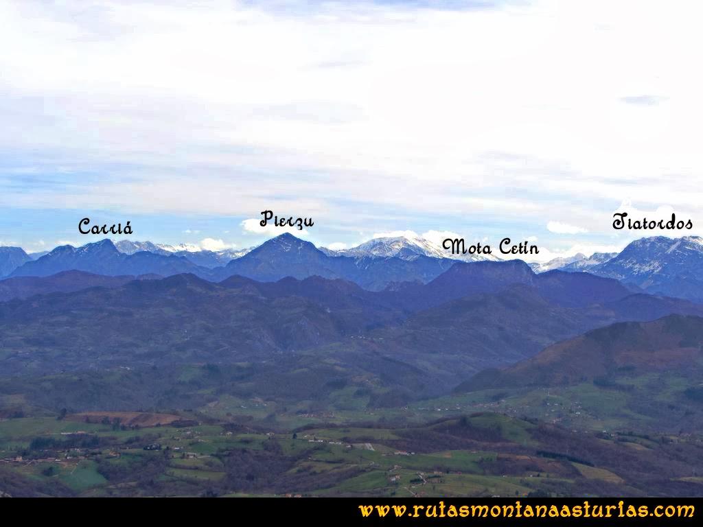 Ruta Montaña Pienzu: Vista del Carriá, Pierzu, Mota Cetín y Tiatordos