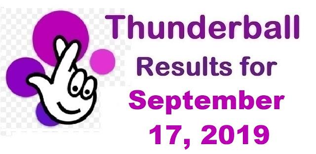 Thunderball results for Tuesday, September 17, 2019