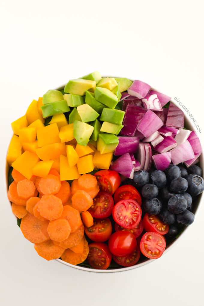 Ingredients for Rainbow Salad | Dance of Stoves