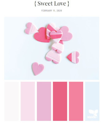 pink color palette including a light blue
