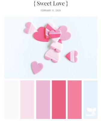 pink color palette including a light blue