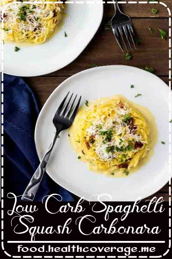 Low Carb Spaghetti Squash Carbonara has only 5 carbs per serving, yet all of the flavor as the traditional recipe. It's naturally gluten free and takes less than 30 minutes to get this impressive meal on the table!