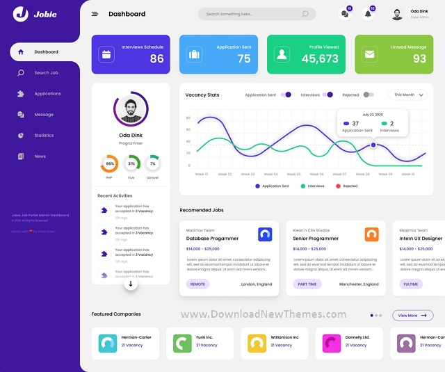 Admin Portal Dashboard UI Template