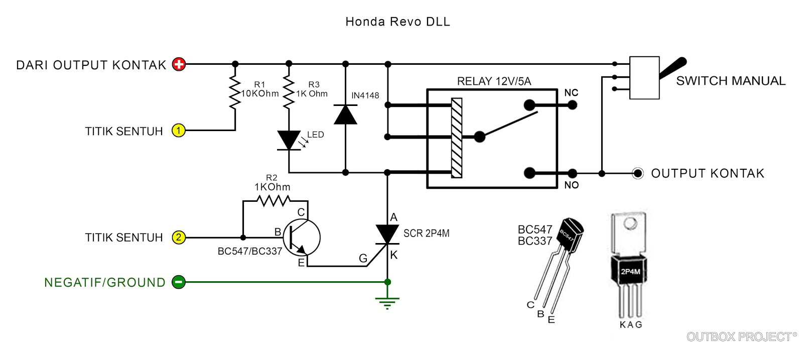 Outbox Project Membuat Pengaman Motor Sederhana Dengan Sensor Relay 12 Volt 8 Kaki Rangkaiannya Jadi Seperti Ini Ganinput Diambil Dari Positif