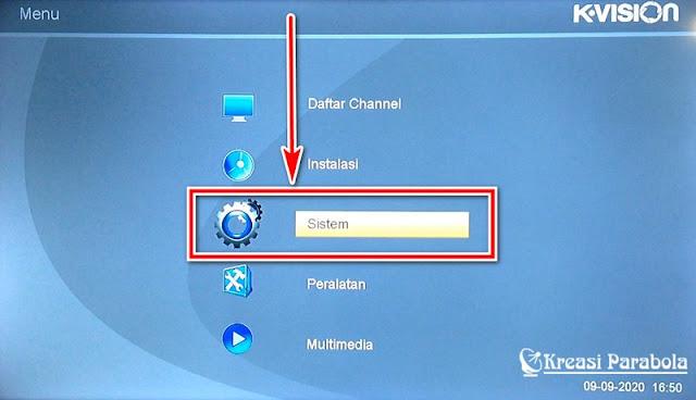 Menu sistem receiver k vision bromo c2000