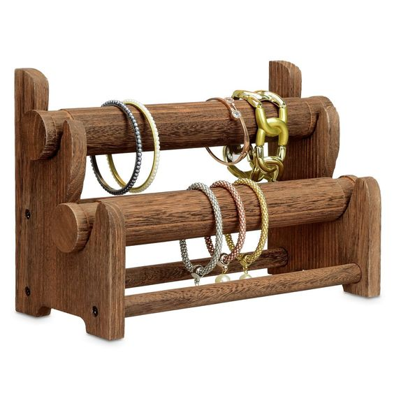Wooden 2-Tier Bar Bracelet Bangle Jewelry Holder