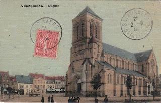 carte postale ancienne église Saint-Saëns