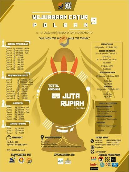 Kejuaraan Catur Polban Nasional (KCP 9) 2019 Untuk SD, Mahasiswa & Umum