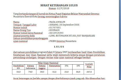 Download Contoh Surat kelulusan untuk Paket C DAN B ( SKL PKBM )