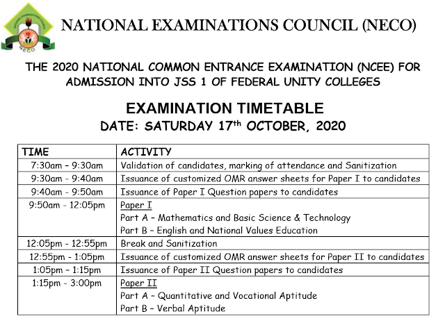2020 NCEE Timetable for Unity Schools [17th October, 2020] | JSS 1