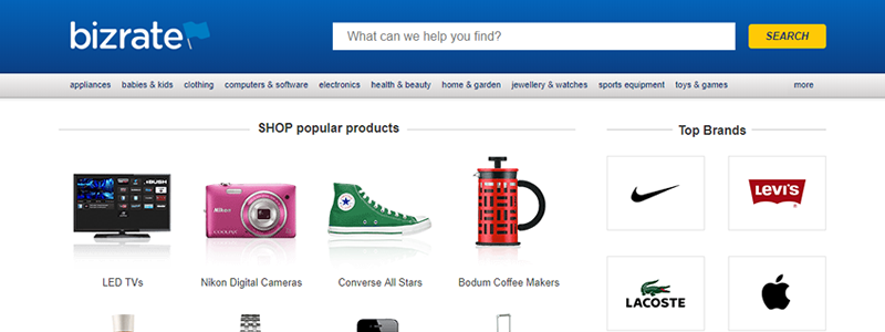 Bizrate helps shoppers to search for virtually every product