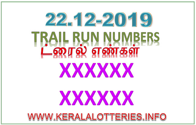 KERALA LOTTERY GUESSING TRIAL NUMBER POURNAMI RN-423 DATED 22.12.2019