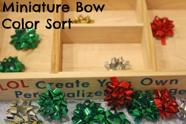 toddler christmas sorting tray