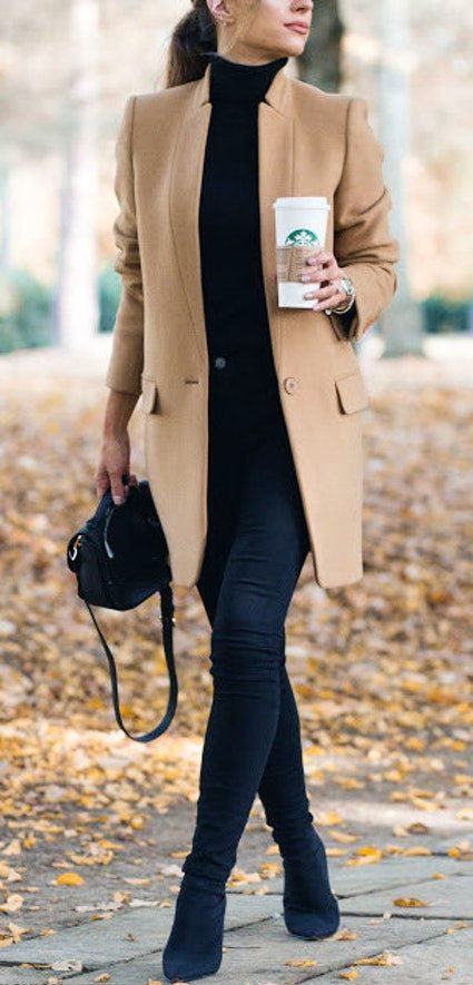 what to wear with a nude coat : boots + bag + black skinnies + top