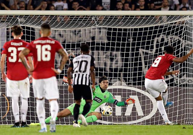 مانشستر يونايتد يفوز بثلاثة اهداف نظيفة علي بارتيزان في الدوري الاوروبي