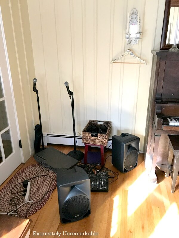 Music Sound System Mess On the floor