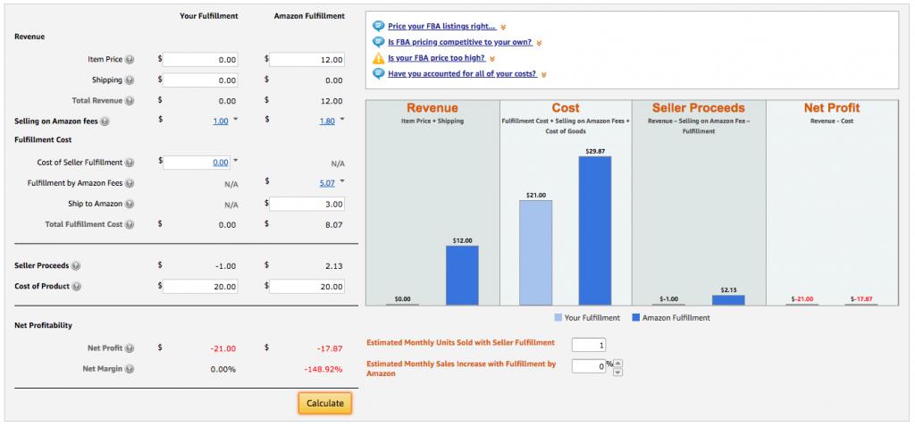 amazon fba calculator for fulfillment by amazon feesamazon fba calculator