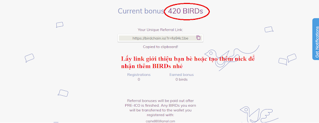 Dự Án Birdchain - Nhận BIRD Token Miễn Phí