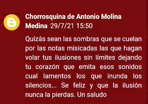 Mi gratitud Antonio Medina Molina por tan bello regalo, tus palabras!!