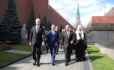 Dmitry Medvedev, Vladimir Putin, Patriarch Kirill of Moscow and All Russia, Sergey Sobyanin