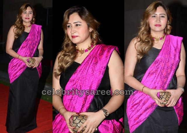 Jwala Gutta Black Fuchsia Pink Saree