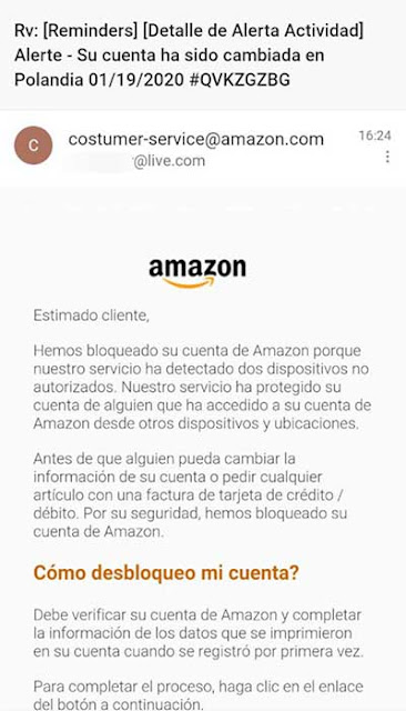 fake Amazon no bloquea cuentas en live desde Polandia