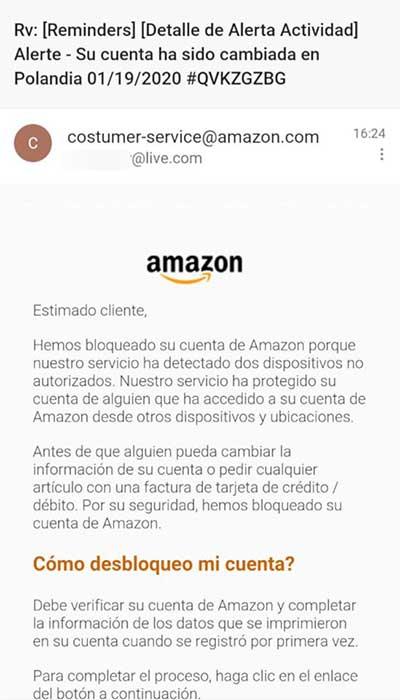 Fake bloqueo de cuenta de Amazon desde Polandia