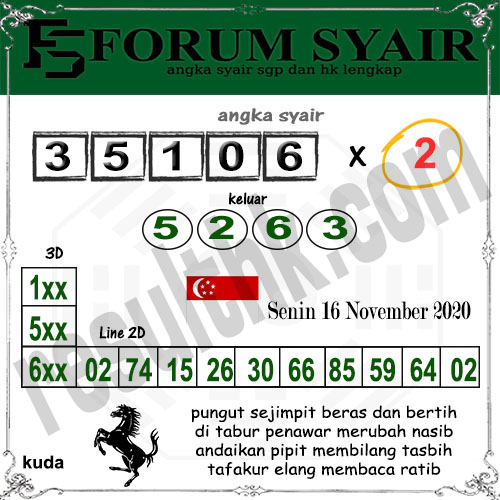 Forum Syair SGP Senin 16 November 2020