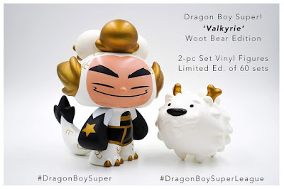 San Diego Comic-Con 2019 Dragon Boy Super League Valkyrie Edition Vinyl Figure Set by Martin Hsu x Woot Bear