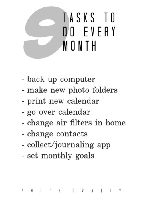 List of 9 tasks you should be doing every month