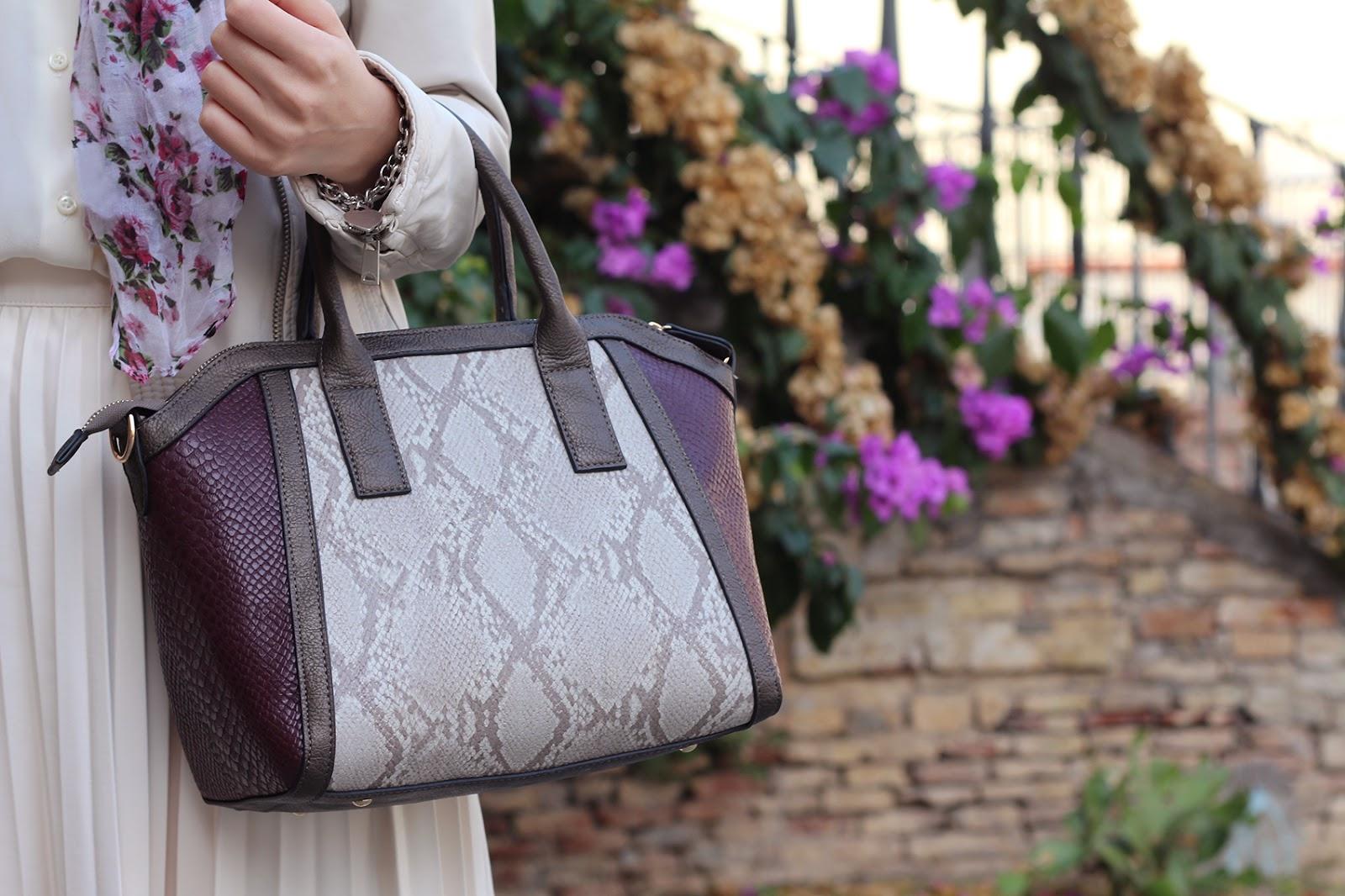 bijou brigitte bag animalier burgundy cream python
