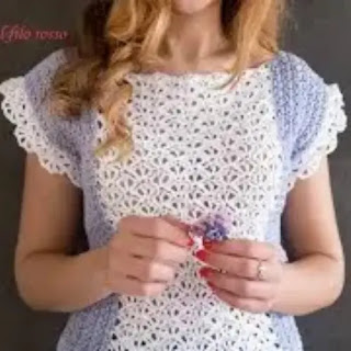 Blusa Encaje Glicine a Crochet