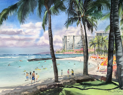 Original Waikiki Tropical Painting by Colleen Sanchez
