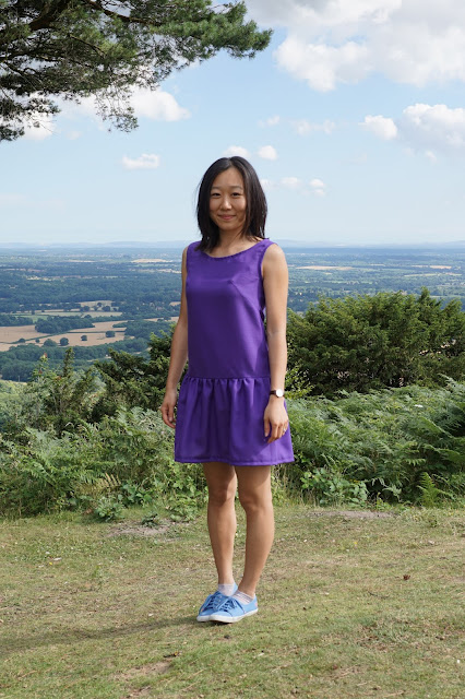 Self-drafted dropped waist purple dress