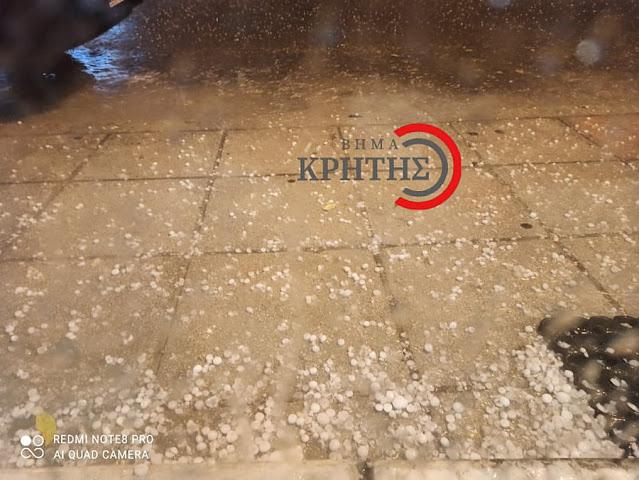 Έντονη βροχόπτωση και χαλάζι στα Χανιά τα ξημερώματα