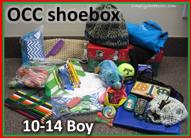 10 to 14 year old boy Operation Christmas Child shoebox example.