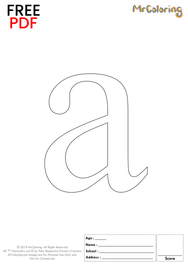 Alphabet letter a coloring pages lowercase formal for kids
