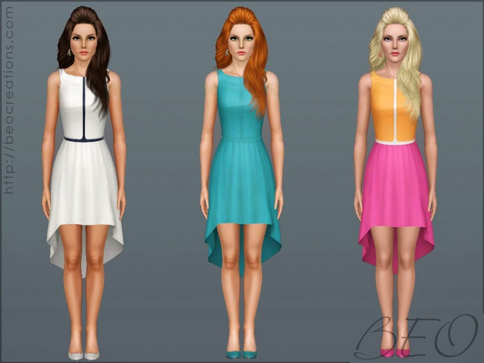 My Sims 3 Blog: Asymmetric Color Dress By BEO
