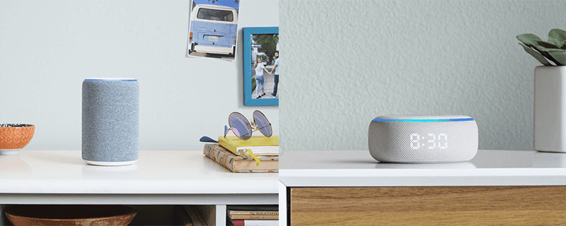 Echo Speaker and Echo Dot with Clock