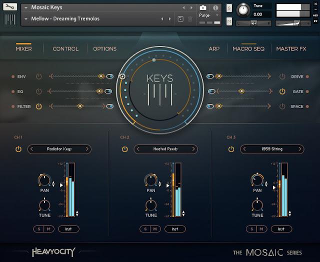 Interface da Library Heavyocity - Mosaic Keys (KONTAKT)