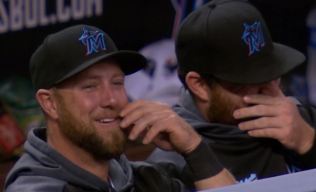 Marlins laugh as Trevor Richards pitch sails into the backstop