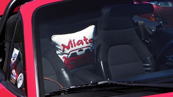 Red Miata with Custom Miata Comfort Cushion