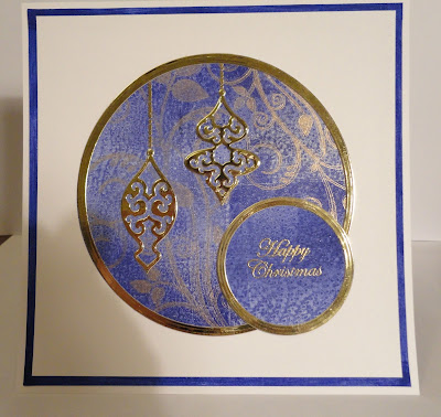 Blue and gold Christmas card by Lucinda Creates
