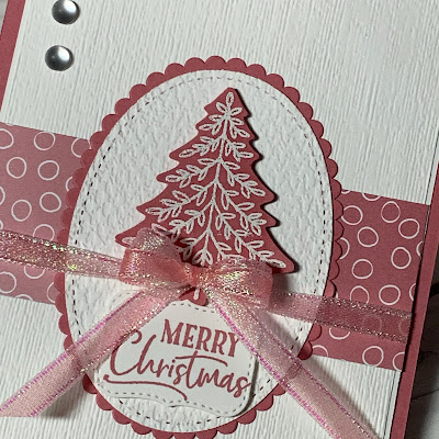 Close up of Christmas Card using a tree from the Perfectly Plaid Stamp Set from Stampin' Up!